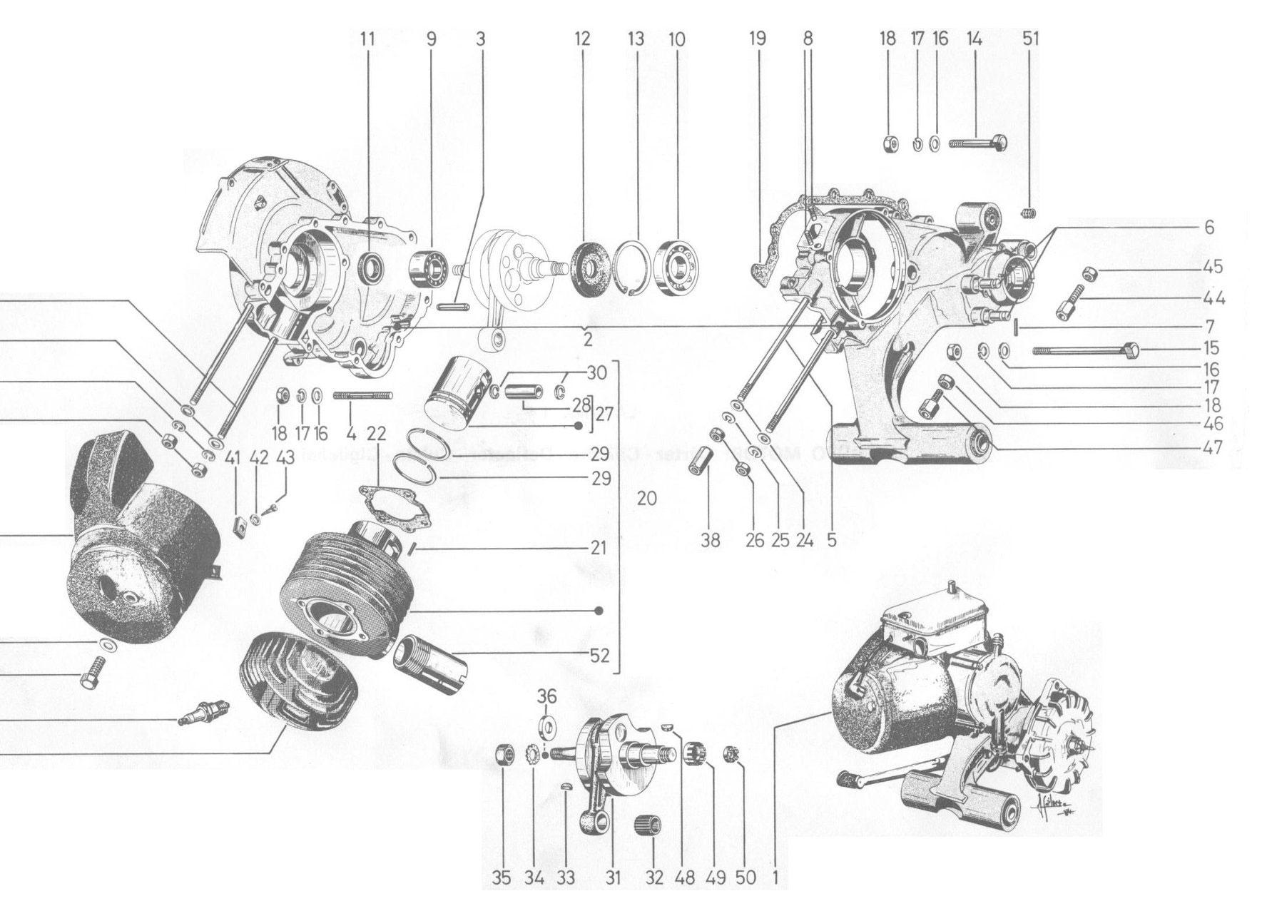 GRUPO MOTOR:CARTER-CILINDRO-CULATA-CIGÜEÑAL
